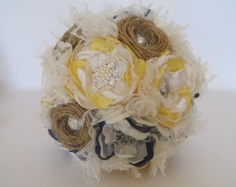 Wedding Bouquet Burlap Brooch Bouquet Ivory Yellow and Navy with Pearls Rhinestones and Lace Custom Made in Your Colors
