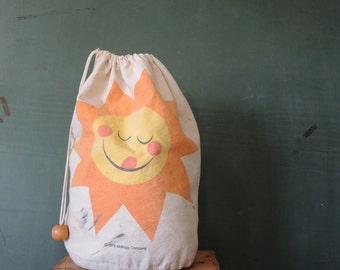 Vintage sunshine drawstring bag for laundry bag children camping trips Kellogg cereal