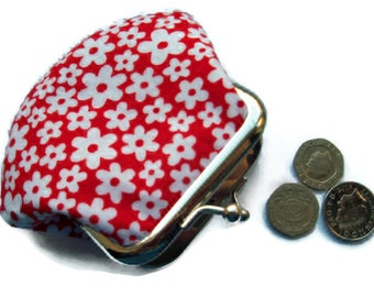 Red  Small Framed Fabric Change Purse - Coin Purse - Change Wallet -  Change Purse - Pocket Money Pouch