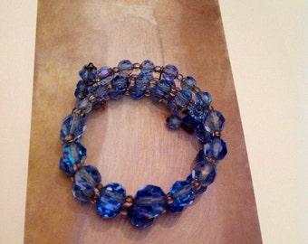 Vintage Baby Blue Crystal Wired Cuff Bracelet AB