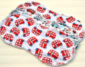 Baby boy burp cloths, contoured burp cloths, ragged edges,  flannel burp cloth, burp rags, burpcloth, cars, trucks, buses