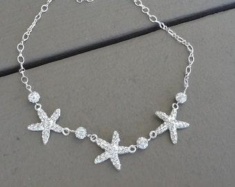 Rhinestone Statement Necklace, Beach Wedding Necklace, Starfish Necklace, Bridesmaid Necklace, Beach Bridal Necklacet