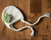 Newborn Basic Simple Neutral Cream Earflap Removable Flower Crochet Beanie Photo Prop Hat