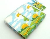 upcycled coin purse, yellow birds, clouds, sun and grass, upcycled milk cartons