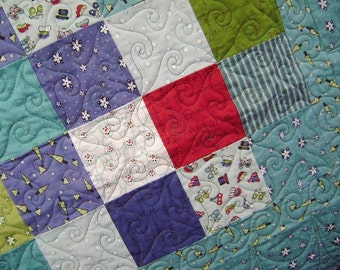 Snow Days Baby Girl Crib Blanket Quilt Lap Comforter with Free Pair of Baby Socks