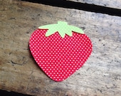 SUMMER - strawberry, green, red, polka dots, diy, iron on, fabric applique