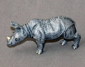 """Adoreable DETAILED Bronze RHINOCEROS """"Rhinoceros Baby #2"""" Rhino Figurine Statue Sculpture Art / Limited Edition / Signed & Numbered"""