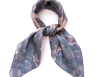 Floral Print Square Silk Scarf. Winter. Grey, black. Hand Drawn Delicate Rose Print Border Scarf. Ladies Scarf Luxury Gift. Wedding Occasion