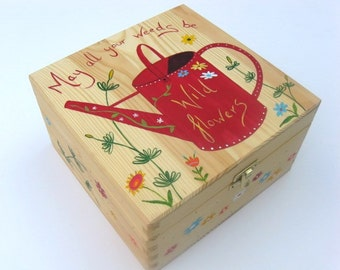 Large hand-painted memory box, Wooden keepsake box, Wooden box - Watering can design. Free personalisation.
