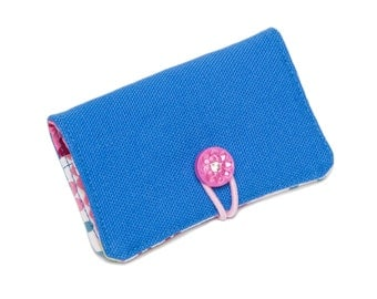 Clearance! Foundation Bifold Organic Canvas Wallet with Vintage Button Closure: {Blue}