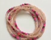 Beaded mulit-colored wrap bracelet/necklace
