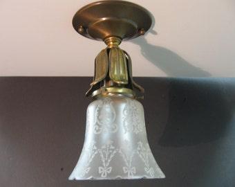 1078 Vintage Brass Ceiling Shade Holder w/Vintage Etched Glass Shade Rewired Restored
