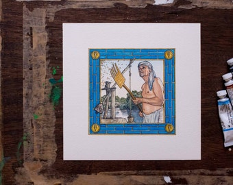 Tigris Euphrates board game art for sale - farmer - blue and gold - unique gift for any board game fan