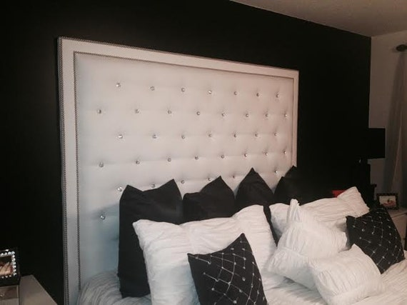 ... Button Tufted Headboard with Double Nailhead Border (King, Extra Tall