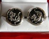Amazing RARE Vintage Swank Hand Etched Silver in Hematite Dragon Cufflinks