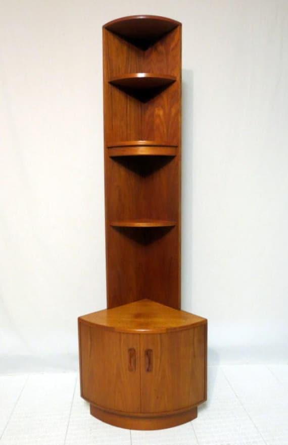 Vintage Mid Century Danish Modern Teak China Corner Cabinet
