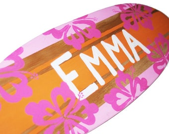 Surfboard Wall Art, Personalized Girls Surf Decor for a  Baby Shower Gift