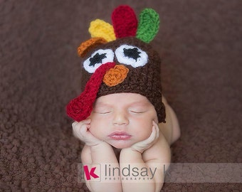 Crochet Turkey Hat- Ear Muffs- Turkey Hat- Thanksgiving hat- Holiday Hat- Newborn