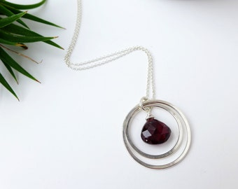 Garnet Double Rings Sterling Silver Necklace for January Birthday