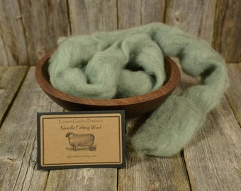 Sage-Needle Felting  Wool - Natural Wool Roving -Wet Felting Wool-Nuno Felting-Spinning