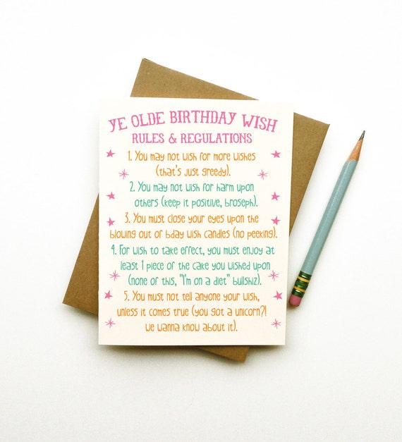 Ye Olde Birthday Wish Rules Funny Quirky Cheeky Eco By