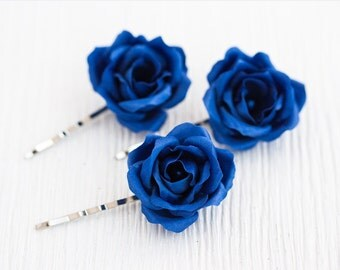 72_Deep blue rose hair pin, Bridesmaid hair rose, Wedding roses hair, Rose clip, Fabric roses Bridal silk hair roses Blue flowers Floral pin