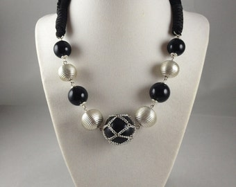 Midnight Bling  Statement Necklace Chunky Necklace  Black and Silver Necklace