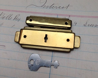 Vintage brass luggage lock - jewery box lock and key - corbin suitcase lockset - antique box locking clasp