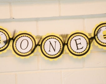 Bee Day high chair banner, One banner, Bee-day, Bee Day, Bumble bee theme, I am one