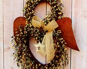 Winter Wreath-Front Door Wreath-Spring Wreath-Angel Wreath-Rustic Angel Wreath-Spring Door Wreath-RUSTIC BURLAP ANGEL Berry Door Wreath