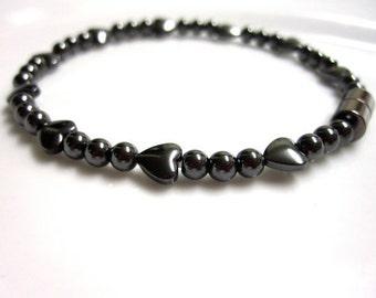 Magnetic Hematite Hearts Bracelet
