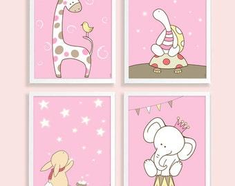 Nursery Posters Set, Nursery Art decor, Art for Baby Girls room,Safari animals Art prints,kidsart decor,Baby girl nursery art,baby pink set