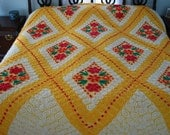 Stunning Bright and Sparkling Vintage Chenille Bedspread