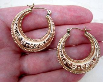 CLEARANCE SALE large 10k gold unique puffed hoop earrings 3.5 grams - ornate loop earrings - 417 gold - pierced earrings