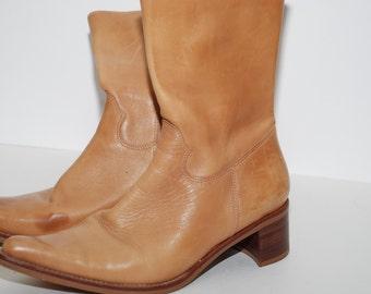Vintage Leather Steve Madden Zip Up Boots Cowboy Style Size 8