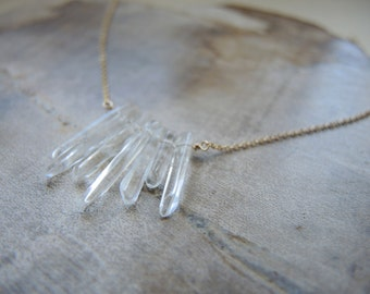 Crystal Quartz Necklace, Spike Necklace, Gold Necklace, Quartz Jewelry, Jewelry Gifts For Her, One Of A Kind Jewelry, 14K Gold Filled Chain