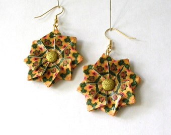 Origami Earrings - Green and Gold Paper Jewelry - Paper Anniversary