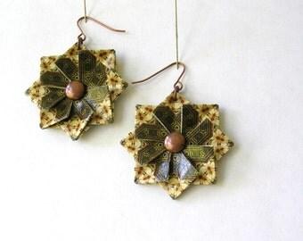 Boho Earrings - Origami Earrings -  Paper Jewelry - Bohemian Jewelry - Paper Anniversary - Origami Jewelry - Paper Earrings - Paper Gift