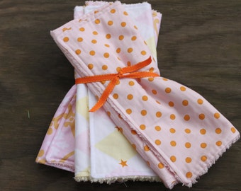 Burp Cloths- Set of 3 - Pink and Orange- Cotton Prints- Terry Cloth- Handmade