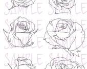 Digi Roses - Set of 6 - Instant Download