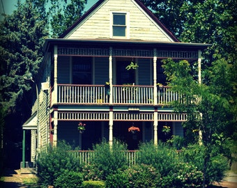 Double Decker Porch Home Digital Photograph - Instant Download