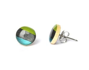 Striped stud earrings.  Striped post earrings wood studs, wood earrings, minimalist jewelry eco friendly for her