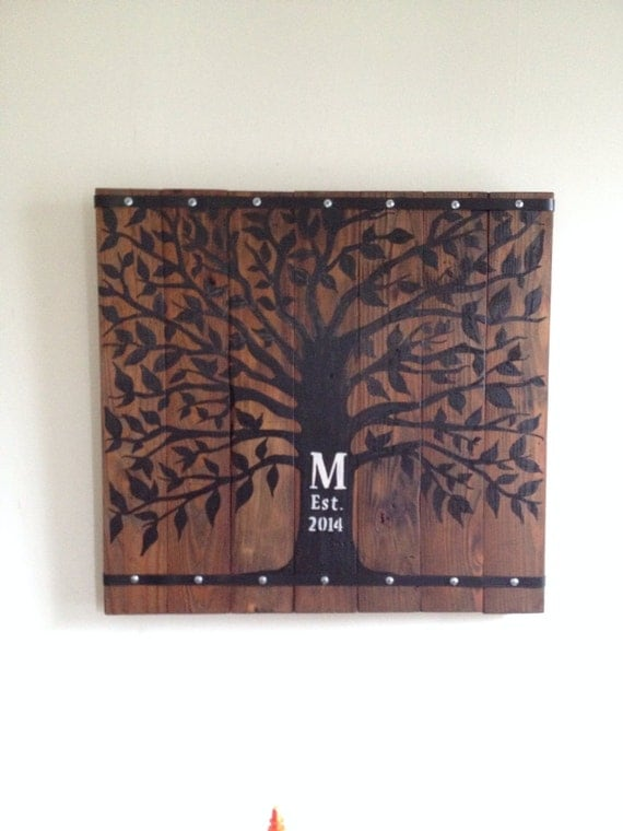 Rustic Tree Wall Decor : Rustic wall decor for wedding guest sign in family by