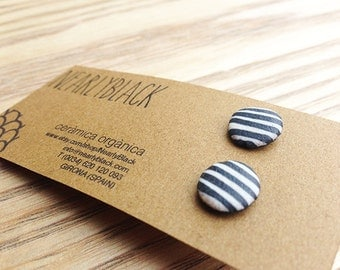 Ceramic Earrings. Tiny buttons. Nearly Black colour with Fine White Lines.
