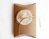 small gift box, natural box, kraft box, pillow box, sand dollar, shell, beach party decor, nautical table settings, ocean sea decor