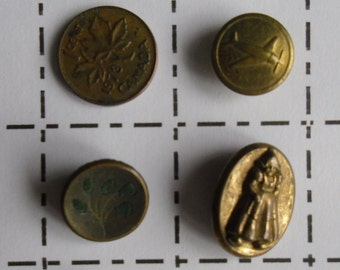 Antique Buttons - 3 Brass Buttons, Oval Dutch Girl, Brass Round Floral, Brass Airplane
