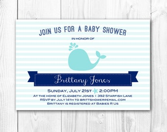 Blue Whale Baby Shower Invitation. 'Under the Sea' Printable Baby Shower. DIY Print Yourself. Coordinating Decorations Package Available.