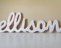 Baby Name Large -Custom Wood Name, Nursery, Cursive Wooden Name