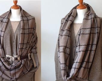 Beige and black large plaid scarf loop circle / unisex infinity extra wide wool shawl / woodland tartan winter scarf / back to school scarf