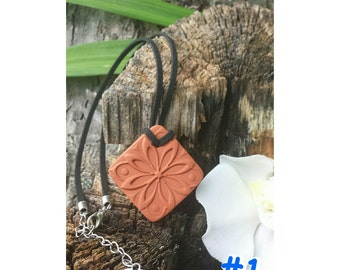 SQUARE DESIGNS Terra cotta Essential Oil Diffuser Pendant for Aromatherapy Necklace for therapeutic oils